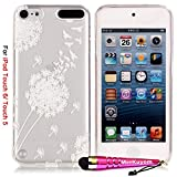 iPod Touch 6 Case / iPod Touch 5 Case, iTouch 5/6 Cover, MerKuyom [Clear Transparent][Slim-Fit] Flexible Gel Soft TPU Cover Skin Case + Stylus For Apple iPod Touch 5 & Touch 6 (White Dandelion Birds)
