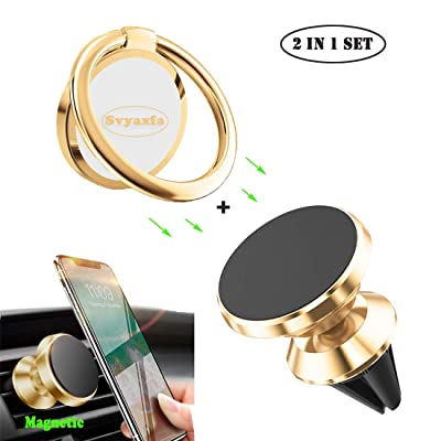 Phone Ring Holder Finger Kickstand Universal Finger Ring Stand with Magnetic Phone Car Mount Holder Car Air Vent Magnetic Mount Car Phone Holder for iPhone11 Pro Xs Max XR X 8 All Smartphone(Gold)