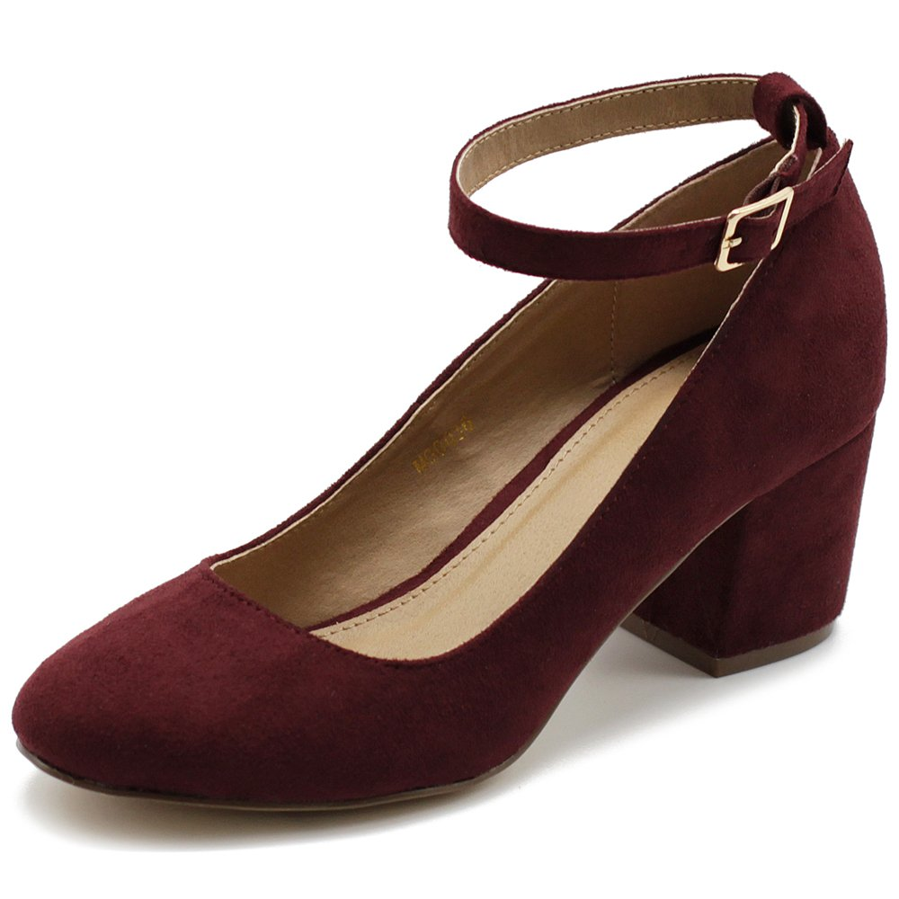 Ollio Womens Shoe Faux Suede Basic Chunky Mid Heel Ankle Strap Pumps MG36 (7.5 B(M) US, Burgundy)