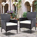 TANGKULA 2 Pcs Patio Armchair Rattan Single Chair