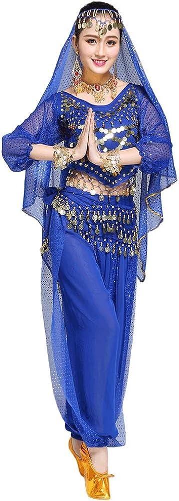 Xinvivion Mujer Profesional Danza del Vientre Disfraz Bollywood Indio árabe Bailando Rendimiento Outfits Traje