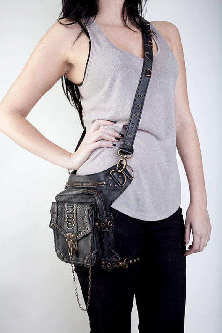 Nakimo Steampunk Waist Bag Gothic Retro Motorcycle Leather Bag Goth Shoulder Packs (Limited Edition)