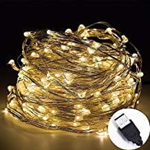 Led String Lights USB,Fidy tek 10-Meters 100 LEDS Star Starry Copper Wire Fairy String Lights For Holiday Party Wedding Christmas Decoration (Warm White)