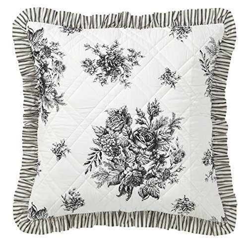 VHC Brands Josephine Black Quilted Euro Sham 26x26 (3 Euro Shams Pillow Quilted)
