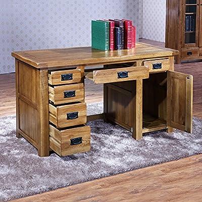 100% sólidos de madera de roble mesa de ordenador Escritorio 1,35 ...