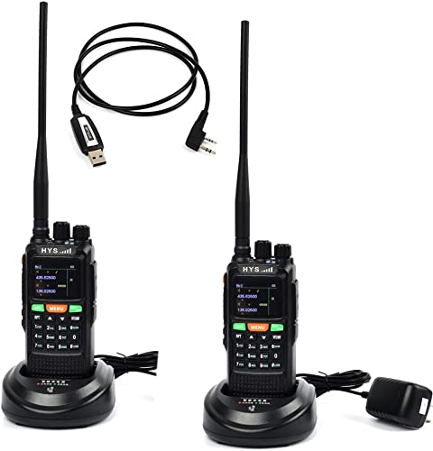 HYS 10W GPS Handheld Ham Radio 136-174Mhz 400-520 Mhz Long Distance Walkie Talkie Transceiver with USB Cable and Software 2 Packs