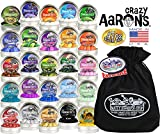 Crazy Aaron's Thinking Putty Mini Tins Deluxe Gift Set Bundle Featuring Glow, Hypercolor, Super Illusions, Scented, Electric, Primary, Metallic & Exclusive Matty's Toy Stop Bag - 25 Pack (.47 oz each)