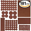 Swpeet 181 Pcs Brown Assorted Sizes Adhesive Furniture Pads Perfect for Hard Surfaces, Wood Floor Protectors Felt Pads Furniture Feet ALL SIZES - Protect Your Hardwood & Laminate Flooring
