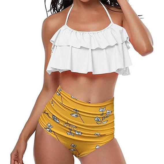 70152d237 Longra Bikini de Talle Alto con Volante Retro de Mujer