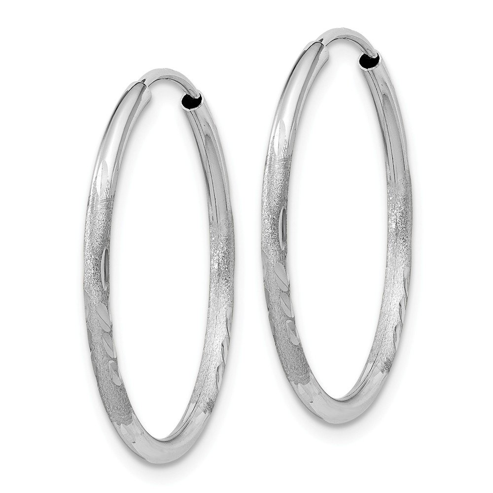Mia Diamonds 14k White Gold 1.5mm Diamond-cut Endless Hoop Earrings