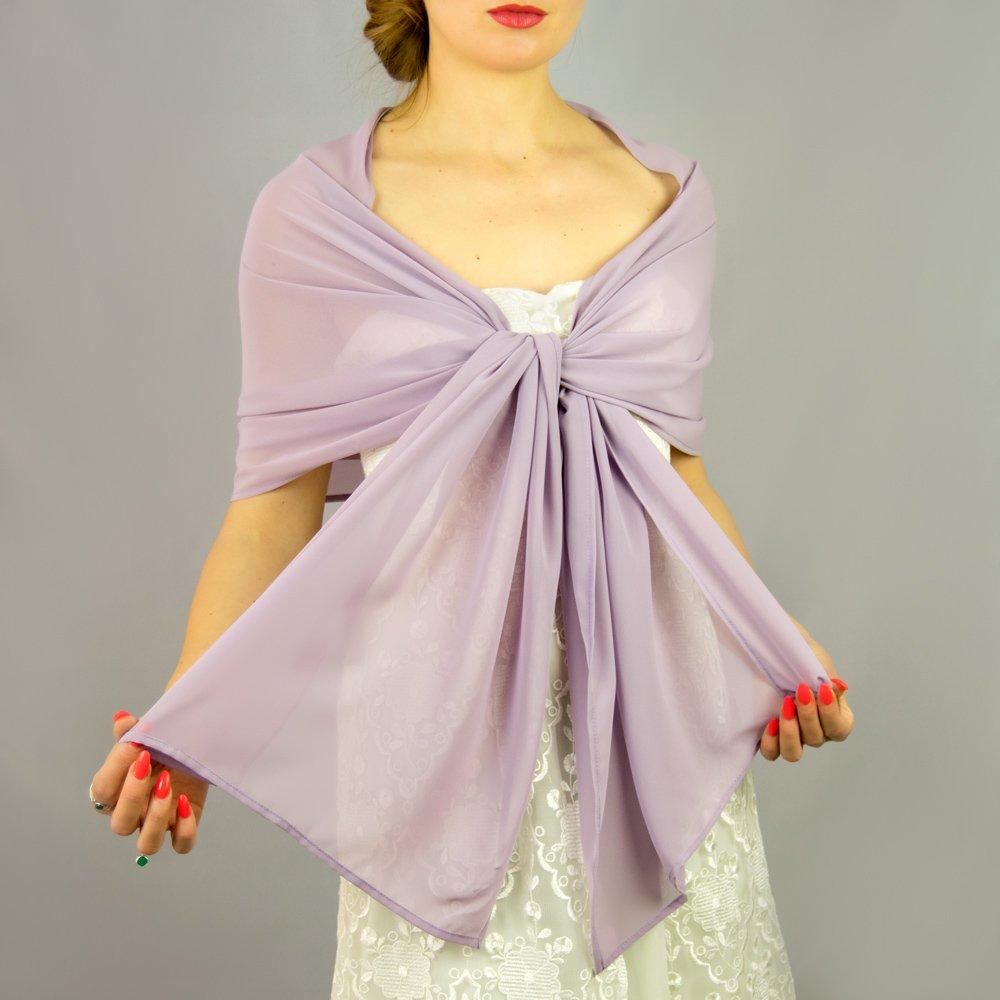 Châle Écharpe Étole Chiffon Femme Mariage sur Robe de Soirée Mariée en lavande lila violet