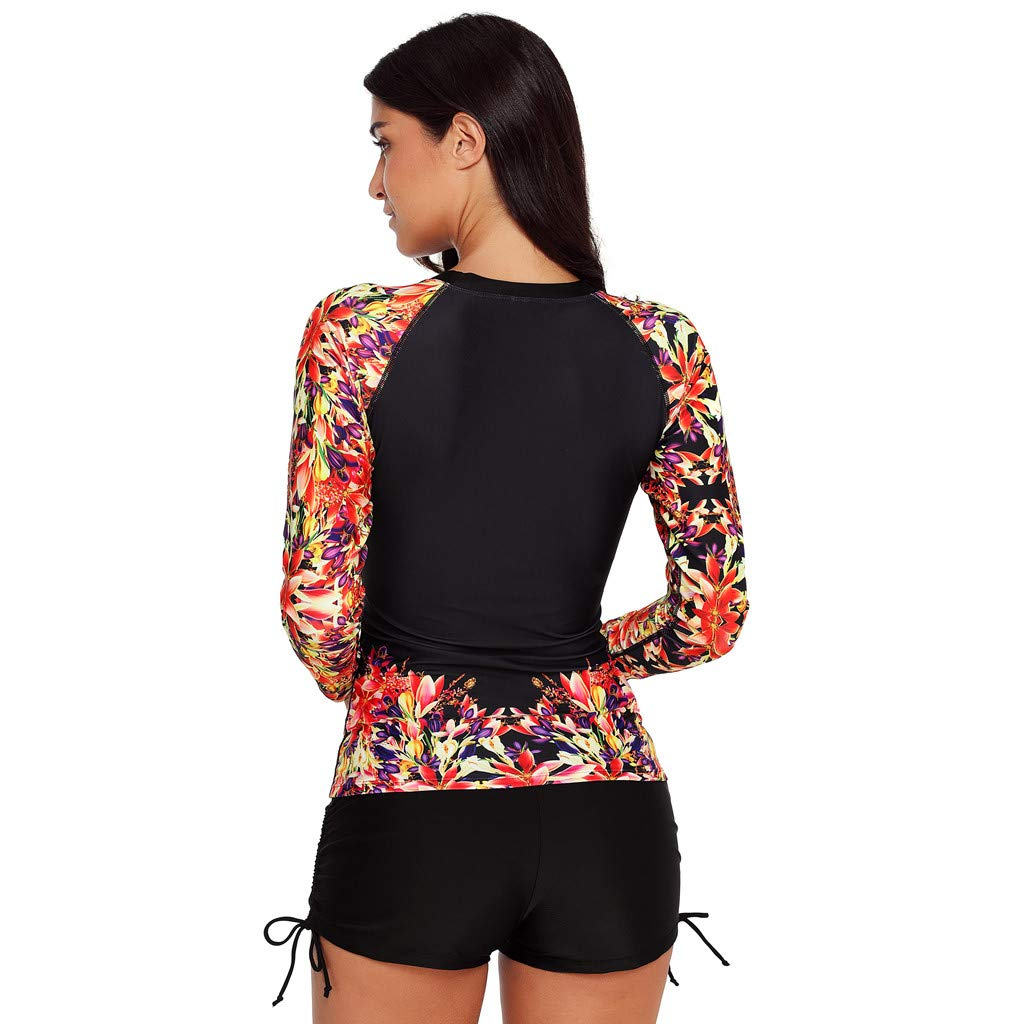 Surf Swimsuit Plus Size,SMALLE◕‿◕ Womens Long Sleeves Rash Guard Athletic Swim Floral Print Quick-Drying Surf Swimsuit