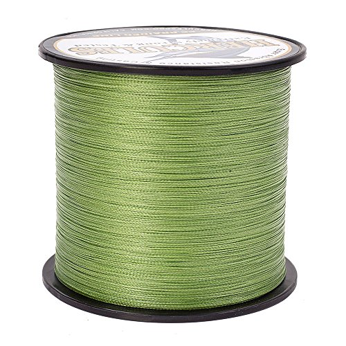 HERCULES Braided Fishing Line 1000m 1094yds 6lbs-100lbs Pe 4 Strands (Army Green 15lb/6.8kg 0.16mm)
