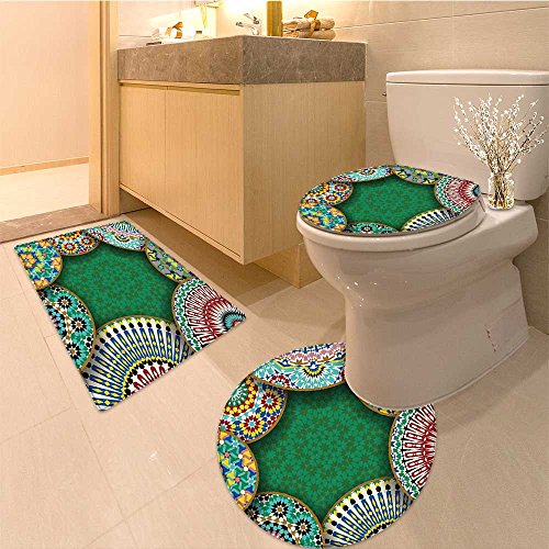 3 Piece Extended bath mat set Orienta Motif with Mi of Retro Circle Morocco Mosaic Lines Sacred Holy Design Fabric Non Slip Bathroom Rugs -