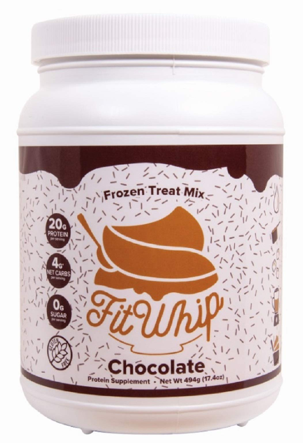 Fit Whip Frozen Treat Mix, Chocolate Flavor | High Protein | Low Carb | Low Fat | High Fiber | Sugar Free | Gluten Free | Keto Friendly | Macro Friendly | WW Friendly | 13 Servings by Fit Whip