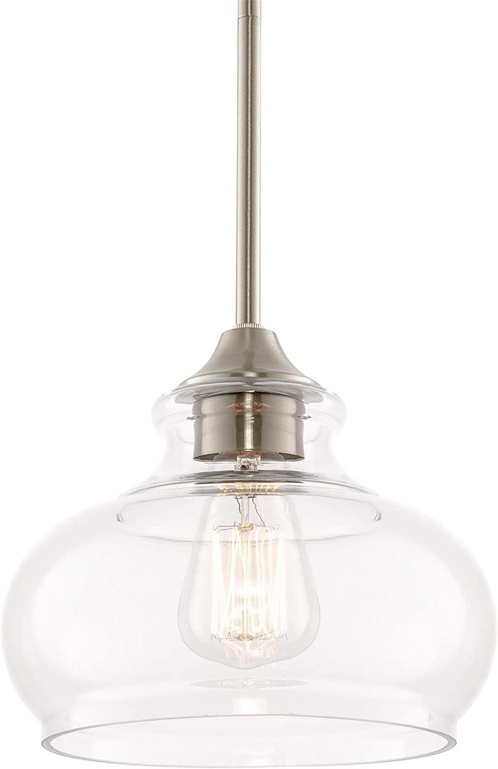 """Kira Home Harlow 9"""" Modern Industrial Farmhouse/Schoolhouse/Rustic Pendant Light with Clear Glass Shade, Adjustable Hanging Height, Brushed Nickel Finish"""