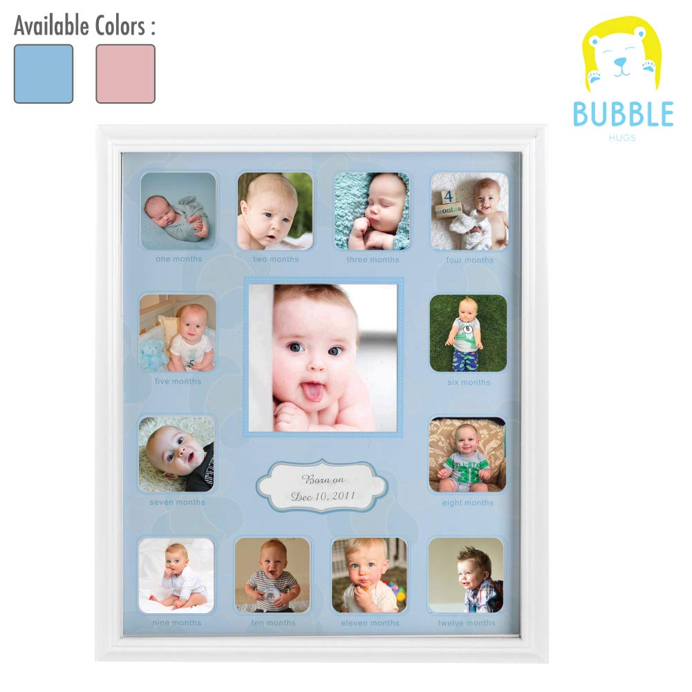 Collage Photo Frame for Baby First Year Keepsake - 12 Months Picture Frames for Baby Boy Girl Newborn 1st Birthday-Gifts Ideas size 11''x13''x1'' with 13 Slots for Home Decor in White Frame Wood by Baby Growth Collage