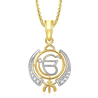 Buy amaal khanda god pendant with chain for men women gold plated amaal khanda god pendant with chain for menwomen gold plated in american diamond cz mozeypictures Images