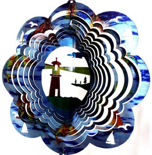 Stainless Steel Wind Spinner, 12'' Lighthouse, Ocean Printed by dakotasteelart
