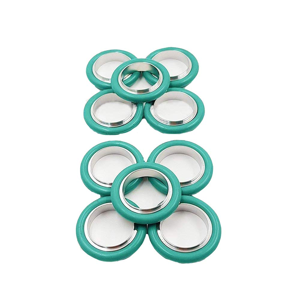 KF-40/ NW-40 Vacuum Fittings, Vacuum Center Ring Made of Aluminum, O-ring = FKM Viton ( lot of 10pcs, Color May Vary)