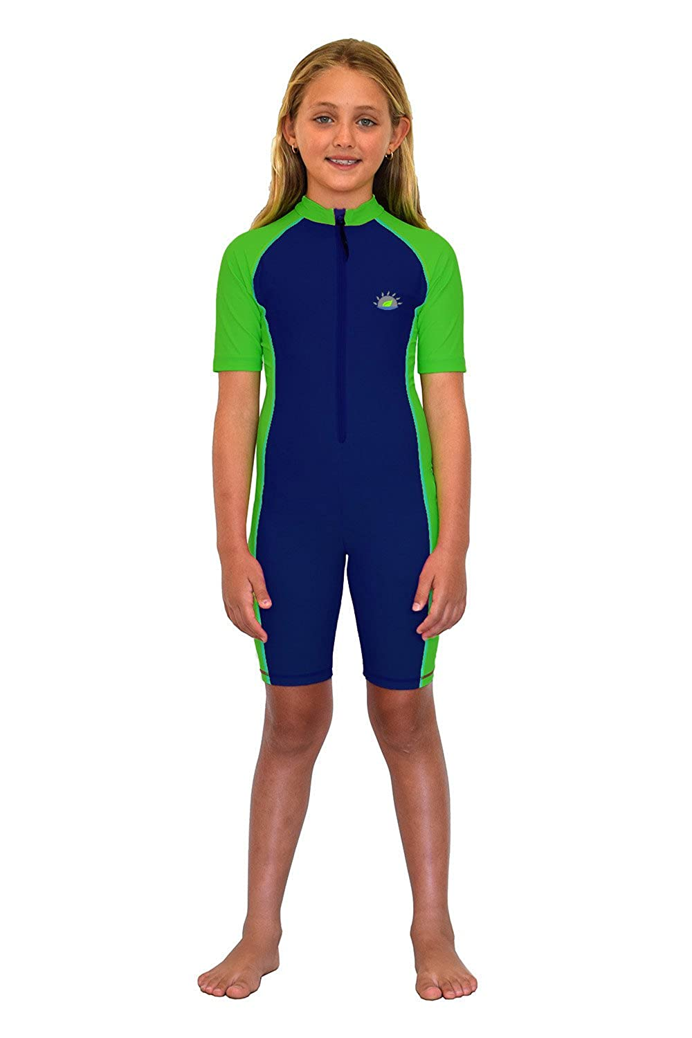 Girls Full Body Sunsuit UV Protective Swimwear UPF50+ Navy Lime S201-NLIM-G