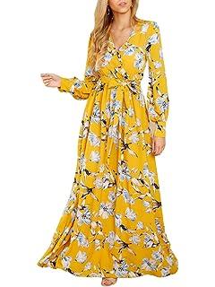 79b4632a9 Chuanqi Womens Sexy V Neck Long Sleeve High Waisted Chiffon Floral Long  Maxi Dress with Belt
