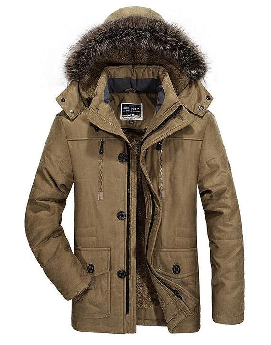 UUYUK Men Big /& Tall Thick Fleece Anorak Parka Hooded Sherpa Lined Puffer Down Jacket