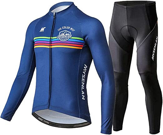 Men/'s Cycling Set Long Sleeve Jersey Pants Pro Bike Bicycle Padded Tights Bike