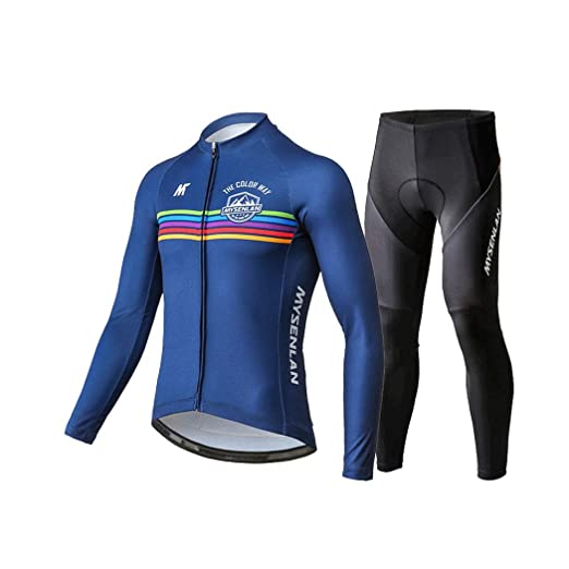 a2aeafc1d Mysenlan Men s Cycling Long Sleeve Breathable Jersey Set 3D Padded Long  Pants Bike Shirt Bicycle Tights