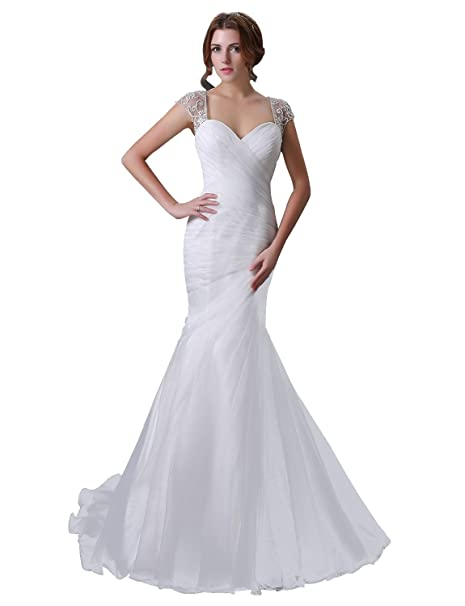Adasbridal-Vestido de novia de organza de raso de escote corazon de la sirena elegante