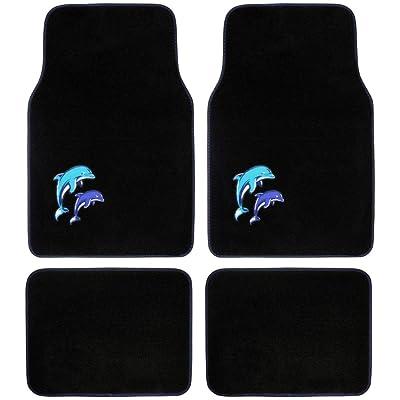 BDK Universal Fit 4-Piece Dolphin Design Carpet Floor Mat Set - (Black/Blue Dolphin), (MT-515): Automotive