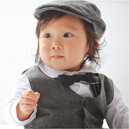 Digirlsor Baby Boy Gentleman Outfit Formal Rompers Short Sleeve Tuxedo Suit with Bowtie and Waistcoat