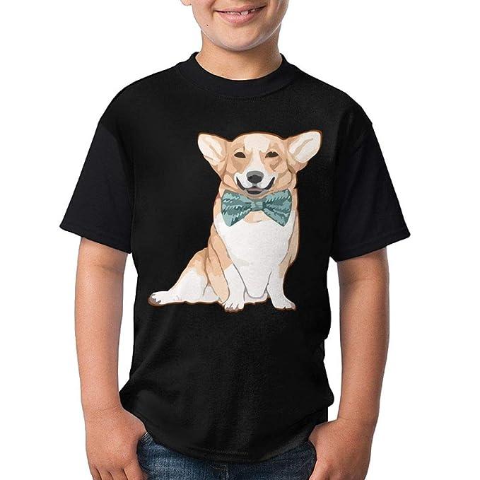 7ff51f4ff69706 Amazon.com  HUDS VIFV Cute Bow-tie Corgi Dog Youth Crew Neck Short Sleeve T- Shirts Tees  Clothing