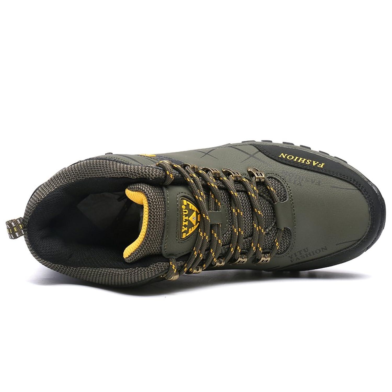 Gomnear Herren Wandern Stiefel High Top Trekking Schuhe Non Slip Breathable Wasserdichte Walking Klettern Sneakers,Khaki-45