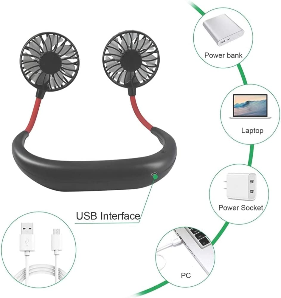 Control Future Neck Hanging Fan - Hand Free Portable Neck Sports Fans, USB Rechargeable Personal Wearable Fan Premium Headphone Design Mini Neckband Fan for Office Outdoor Travel (Upgraded Version)