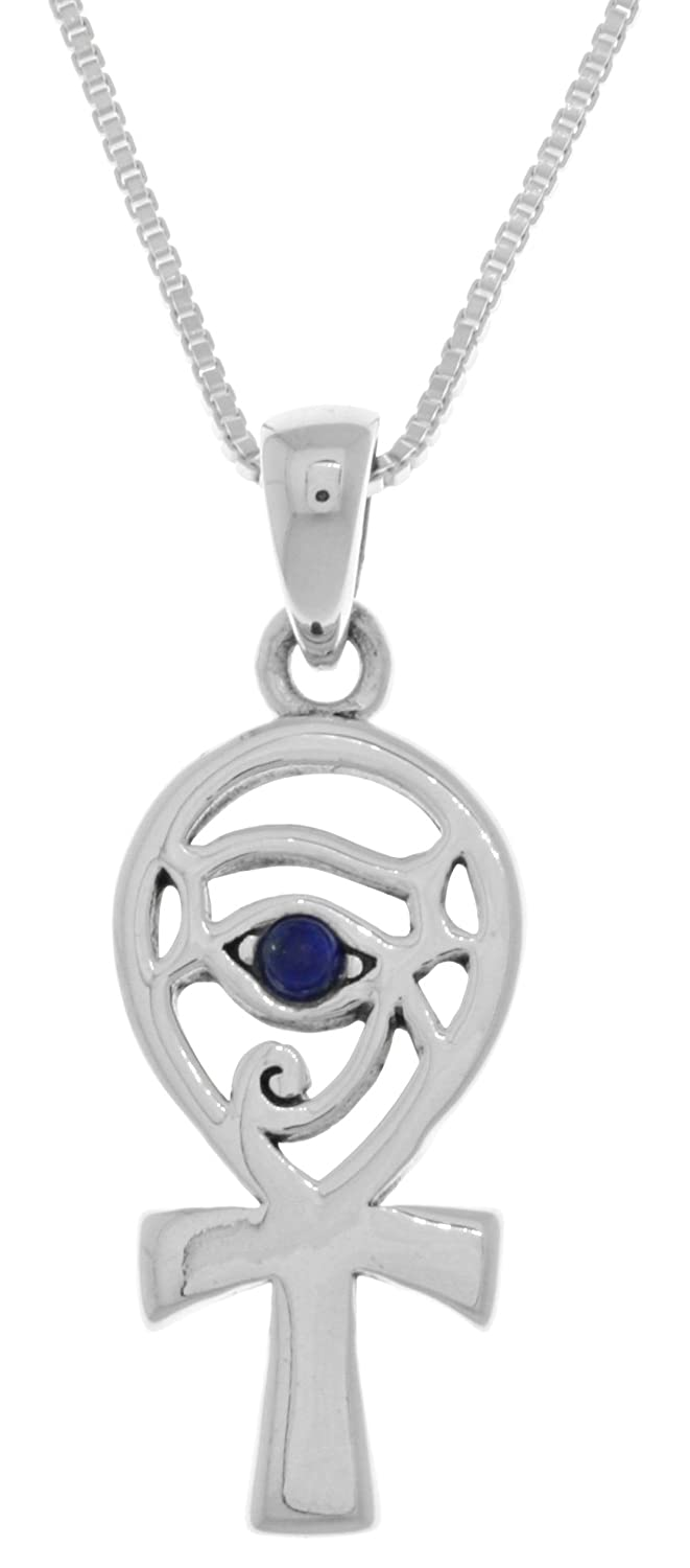 Jewelry Trends Sterling Silver Eye of Horus Ankh Pendant with Synthetic Lapis on 18 Inch Necklace Peter Stone TPD4253