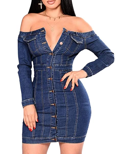 23373b777aa Keaac Women s Off Shouder Button Down Pencil Party Bodycon Dress Denim Blue  XS