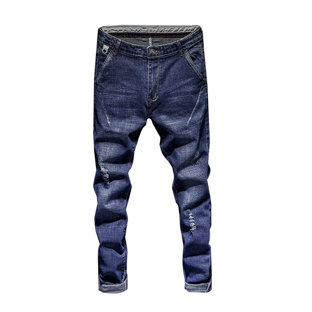 Men's Skinny Jeans, Fashion Casual Solid Zipper Classic -Fit Trousers Slim Fit Denim Pant with Pockets