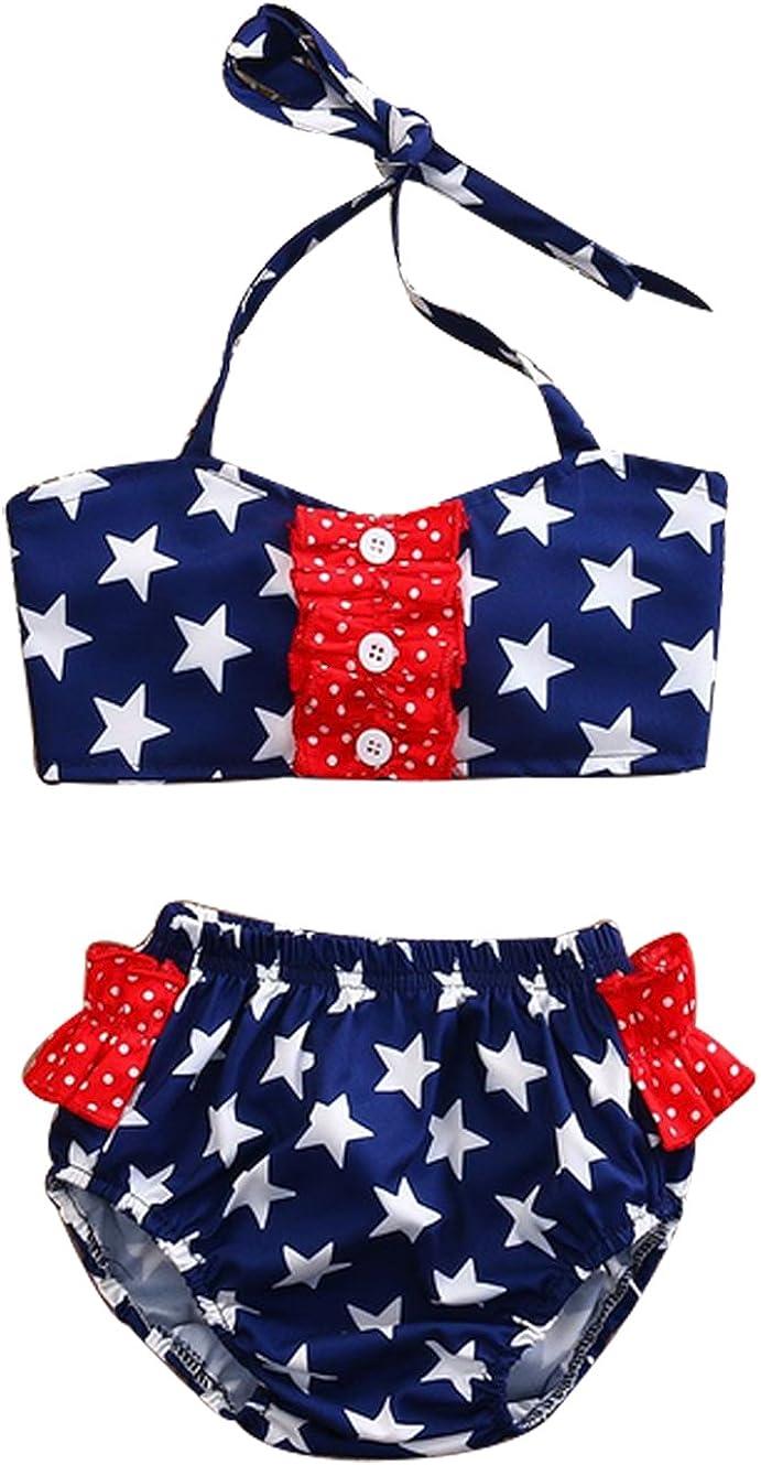 Toddler Baby Gir 4th of July Swimsuit Set Star Print Halter Crop Top Striped Shorts Pants Bathing Suit 2Pcs Bikini Set