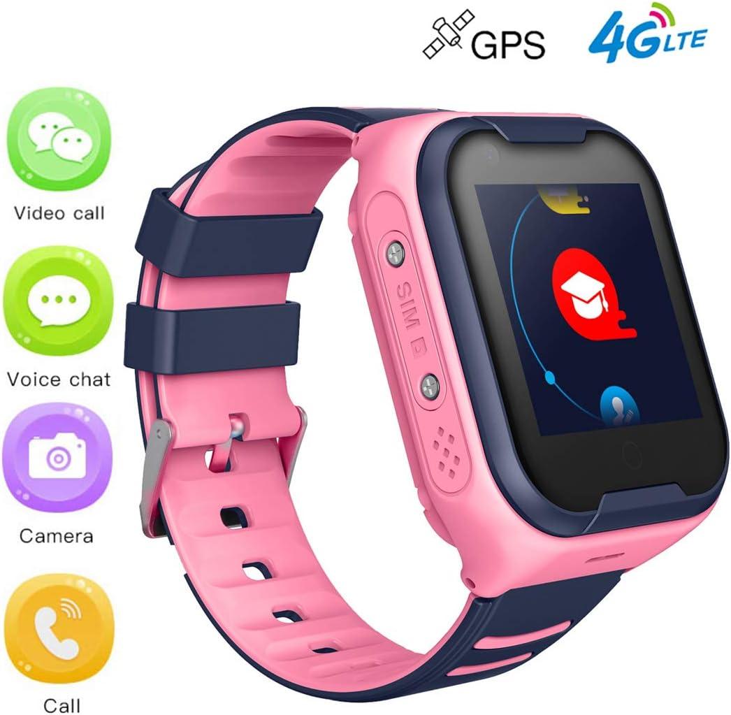 Reloj Inteligente Para Niños Teléfono 4G Con Pantalla De 1.4 Pulgadas, Llamada De Voz SOS Cámara De Chat Con Alarma Reloj GPS, Para Niños Adolescentes Regalos De Cumpleaños Estudiante,Rosado