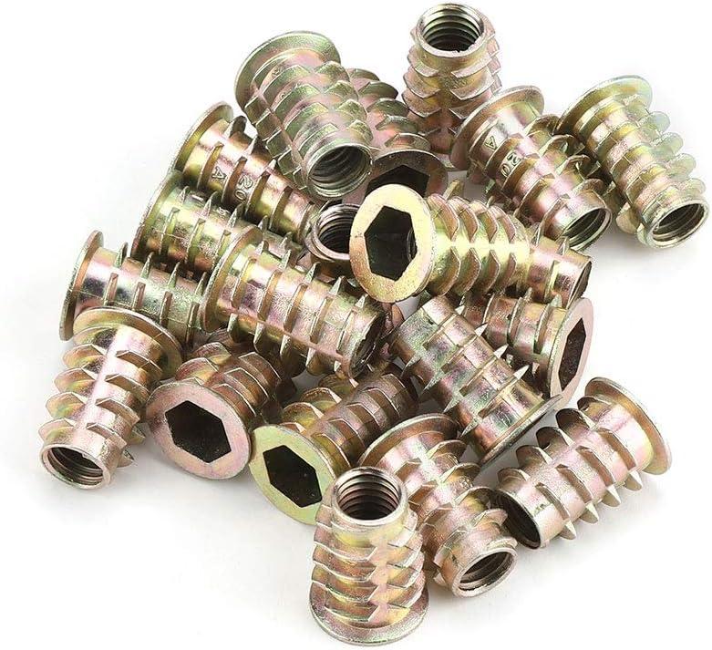 Zerone 20Pcs M8 Aleaci/ón de zinc Cabeza hexagonal Cabezal de muebles Tuercas roscadas para inserto de madera M8 /× 15