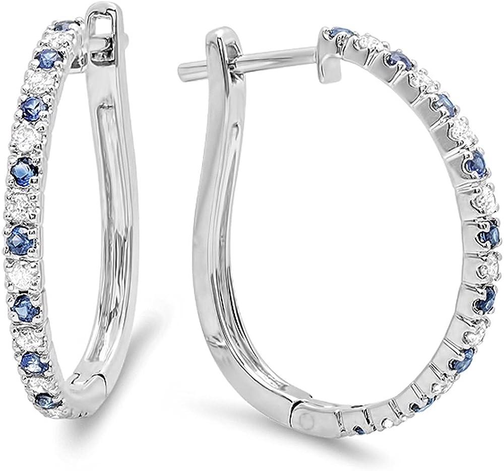 18K oro redondo azul zafiro y blanco diamante señoras pendientes de aro
