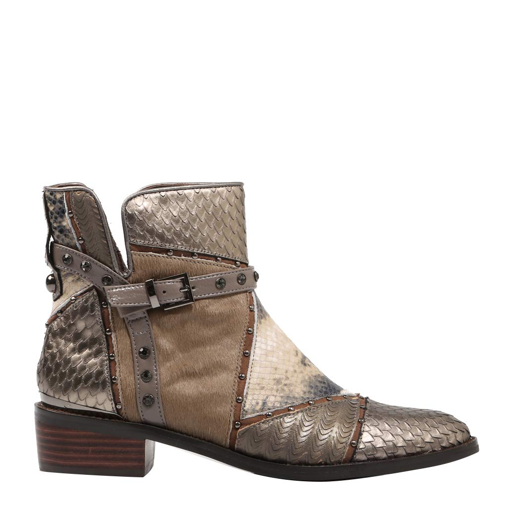 Alma en Pena, Patchwork Stone Leather Ankle Stiefel for Woman