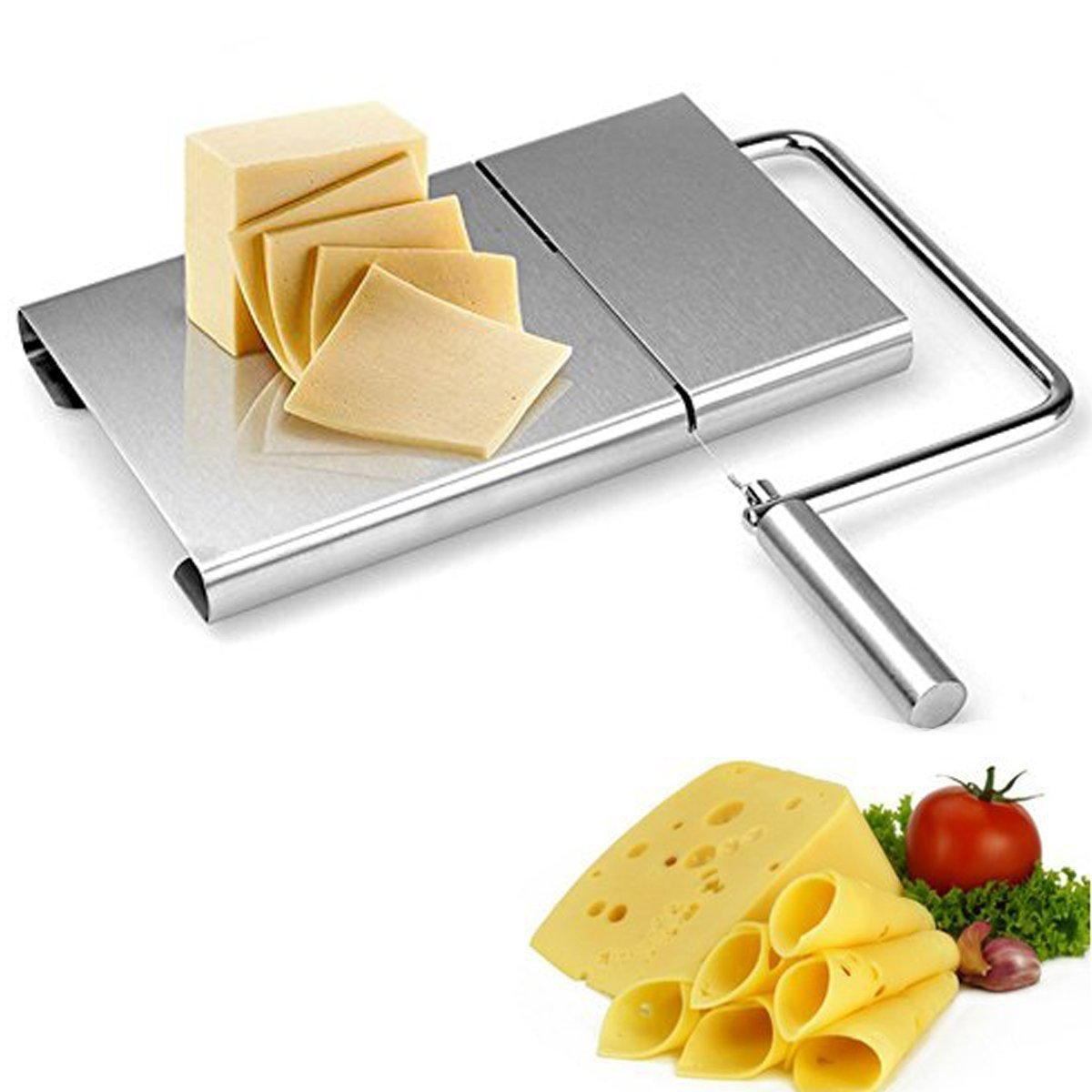 Cheese Slicer Stainless Steel Wire Cutter With Serving Board for Hard and Semi Hard Cheese Butter