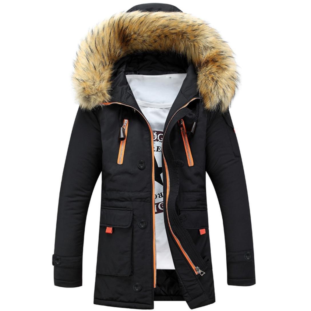 Outsta Unisex Women Men Outdoor Fur Wool Fieece Warm Winter Long Hood Coat Jacket (S, Black)