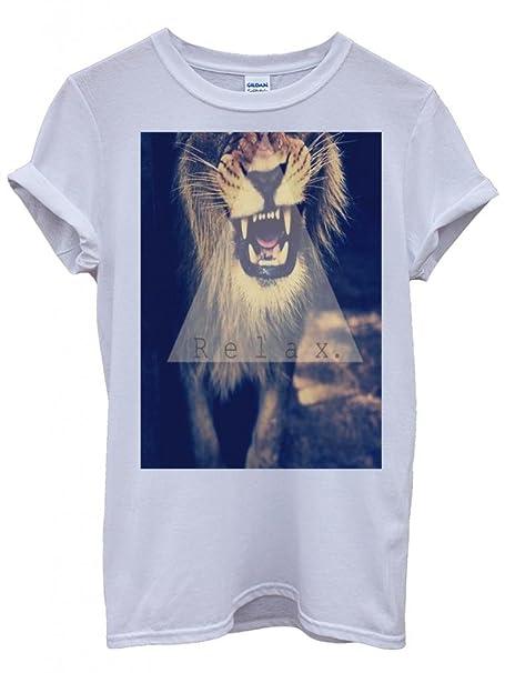 60e07b4a7cadc9 Relax Triangle Lion Leopard Tiger Animal Funny Hipster Swag White Weiß  Damen Herren Men Women Unisex Top T-Shirt  Amazon.de  Bekleidung