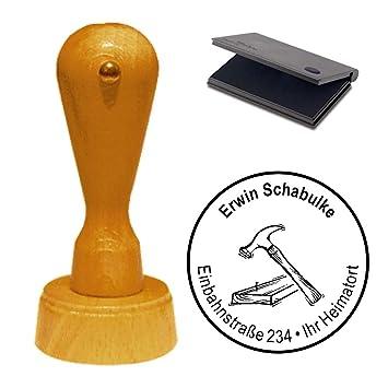 Adressenstempel « ZIMMERMANN » mit Kissen Firmenstempel für Tischlerei