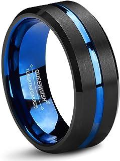 Queenwish blu nero carburo di tungsteno wedding Band 8mm Bicolore spazzolato anello nuziale con elegante Jewelry Box