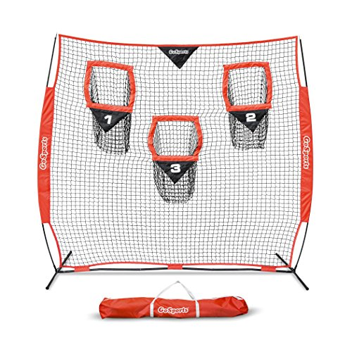GoSports 8′ x 8′ Football Trainer Throwing Net | Improve QB Throwing Accuracy – Includes Foldable Bow Frame and Portable Carry Case