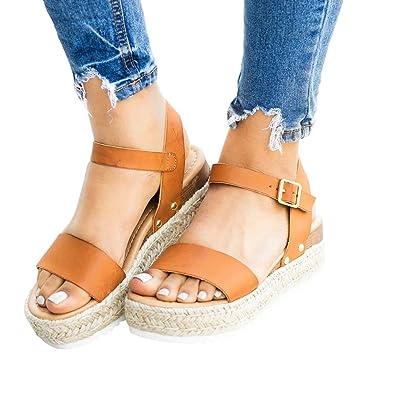 869ab21312d9 Amazon.com   Nailyhome Womens Espadrille Flatform Sandals Open Toe Ankle  Strap Slingback Summer Shoes   Platforms & Wedges